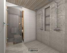 3D- visualisointi ja sisustussuunnittelu uudiskohteeseen/ Modernin rivitalon pesuhuone, vaaleaksi käsitelty kattopaneeli, kivikuosinen laatta suihkujen takana, seinään upotettu saippuateline, harmaa laatta 10x10 nja 30x60/ Keski-Suomen Rakennuskeskus, rivitalo Hollitaipaleentie 10, ennakkomarkkinointi/ 3D-sisustus Tilanna
