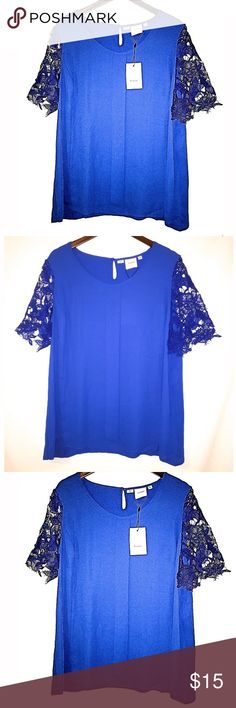 Beautiful Blouse. Elegant blue blouse with a beautiful guipure on its sleeves. I.scenery Tops Blouses