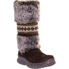 "DINGO COZIES 11"" DI6023:This boot has a micro suede foot and a faux fur and knit shaft, a faux shearling lining, a cushionedinsole, and a TPR winter lug outsole."