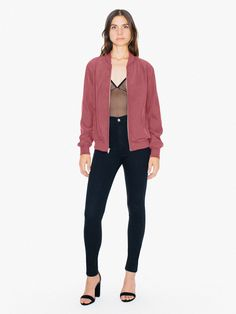 This lightweight, unlined faux silk jacket features front zip closure, side pockets and soft ribbing.