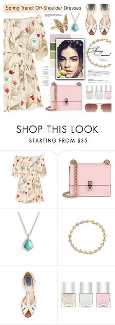 """""""Spring Trend: Off-Shoulder Dresses"""" by anyasdesigns ❤ liked on Polyvore featuring Fendi, Kendra Scott, Cielle London, Nails Inc. and Accessorize"""