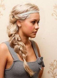 Big Braid Hairstyle with headband/headpiece