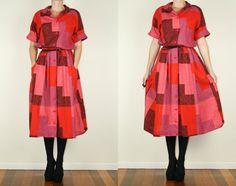 Marimekko Vintage Abstract 70s Geometric Print Button Up Suomi Finland Cotton Pockets Shirt Dress