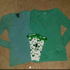St. Patrick's day Bundle! Old navy shirt size small, wet seal shirt size xs, leg warmers...kids osfa but I wore them with boots and they fit fine. Stretchy. And green China glaze. Other