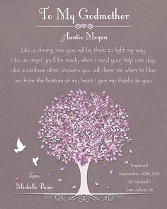 Godmother Gift Baptism Gift For Godmother by GoldHousePrints: