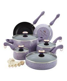 Lavender Porcelain Nonstick 15-Piece Cookware Set