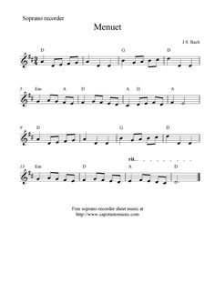 recorder sheet music | Menuet by Bach, free soprano recorder sheet music notes