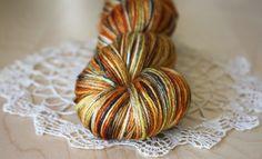 Soie / Fingering Weight / Pumpkin Spice Merino Wool Silk Hand Dyed Yarn