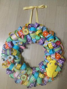 Easter wreath made with ribbon! ;)