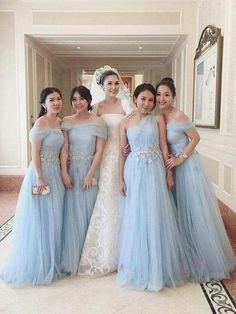 4993c63617c Off the Shoulder Sky Blue Appliqued Tulle Mismatched Bridesmaid Dresses –  SheerGirl