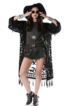 Gypsetter Brocade Velvet Burnout Tassel Kimono - Blk - Saltwater Gypsy #saltwatergypsy