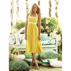 Yellow Bridesmaid Dress - Perhaps these ones (with sleeves or maybe a shawl or little jacket), the groomsmen could wear blue vests and ties, I could have a blue ribbon and the groom could wear a yellow vest and tie?