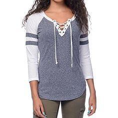 ZSN Womens Autumn Casual Lace Up Raglan Sleeve Pullover Sweatershirt -- You can get more details by clicking on the image. (This is an affiliate link) #FashionHoodiesSweatshirts