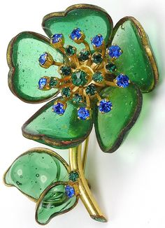Gripoix (marked France) Green Poured Glass and Emerald and Sapphire Stamens Flower Pin