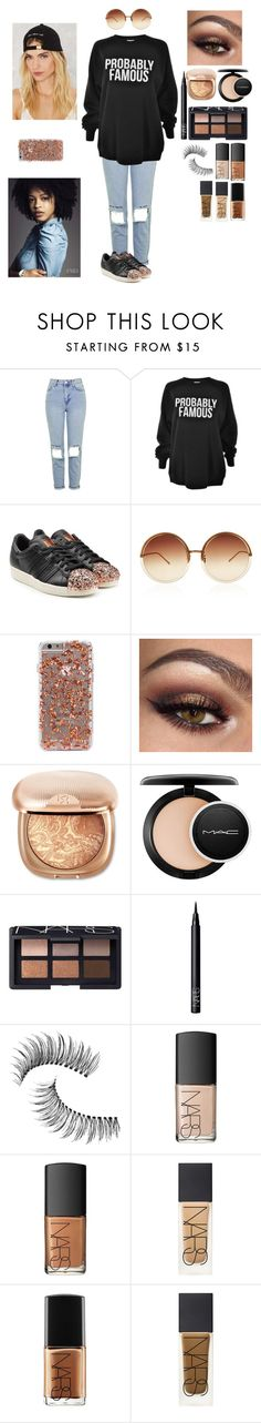 """Probs famous"" by snazzystylist ❤ liked on Polyvore featuring Topshop, Sub_Urban Riot, adidas Originals, Linda Farrow, MAC Cosmetics, NARS Cosmetics and Trish McEvoy"
