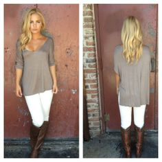 Mocha Modal Basic Tee with White Skinny Pants and Knee High Brown Boots #fall2013 #fashion