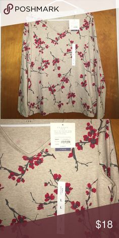 Floral Classic V-Neck Tee 🌺 Brand new, never worn with tags still attached! Beige long sleeve v-neck tee with red flowers scattered throughout. Woman's size large. 60% cotton. 40% polyester. croft & barrow Tops Tees - Long Sleeve