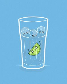 lime swimming in water. funny food illustration art. In the drink by randyotter, via Flickr