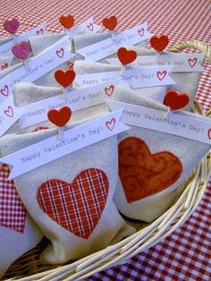 Sewn goody bags perfect for a classroom Valentine's party.