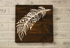 Free Spirited Feather Wood Sign. Would be really nice using pyrography or whittle it!
