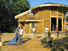 An unfinished straw-bale house::we have strawbales in our exterior walls...our design is just different!