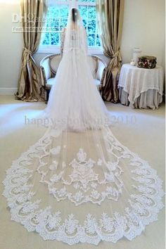 Wholesale Lace Edge - Buy Vintage White Ivory Short Tulle Wedding Bridal Veil Cathedral Length One Layer Applique Lace, $62.0 | DHgate