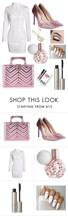 """""""Let's Keep Things Professional, Ok?"""" by pinkstars6 ❤ liked on Polyvore featuring Gucci, Jimmy Choo, Ilia, Kylie Cosmetics, white, patterns, Pink, glitter and professional"""