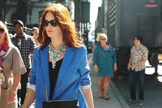 Where to find the awesome blue blazer?? Love the necklace too!