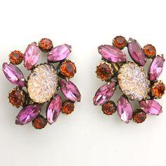Shocking Pink Lava Rock Post-war Earrings by Elsa Schiaparelli