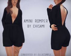 [Elliesimple] - Amini Romper (by Chisami )• 12 swatches • Morphs compatible • Original mesh by Chisami (thank you !) • Hope you enjoy ! ~  DOWNLOAD  ~ • MEGA (adfly) • Sim File Share (adfly) My...