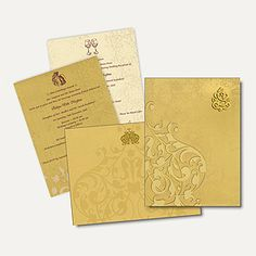 Hindu Wedding Cards HU2221-Ga - This invitation card is from our high end collections and made of hard bound card board with shimmery finished designed cover. Card front is covered with embossed designer imprints and laser cut 3D Ganesh paste-up.