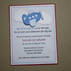 Airplane shower invitations  baby boy shower by JillyBearDesigns, $20.00