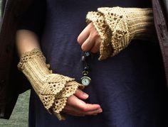 crocheted layered wrist warmers cuffs