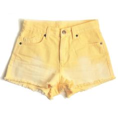 Vibrant yellow slightly ombre-d high waisted shorts, perfect for summer. Pair with a simple white crop top, heart shaped sunnies, sneakers, and loose beachy hair for the perfect look.  Limited edition, only a few pairs up for sale!   PLEASE NOTE: This design will not be Levi's brand.  *** ...