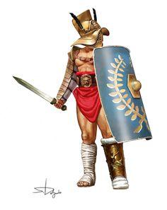 Gladiateur : mirmillon.  Illustration par Sandra Delgado.