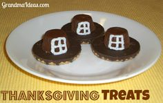 These pilgrim hat treats are super easy for kids to make!