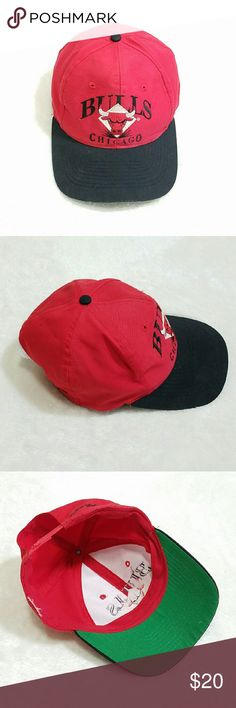 """Vintage Chicago Bull Basketball Cap Hat Retro -Good vintage condition- some signs of wear, no size tag, and """"Signature"""" is missing letters (pic 4) -Fits smaller heads, someone cut the snaps to fit  Please use measurements for reference -Length 10""""  -Width 6"""" -Cotton? (no content tags)  -Classic red and black (colors' appearance may vary on screen)  Questions? Just ask! Bundle to save!  Offers welcome  Happy Poshing! Accessories Hats"""
