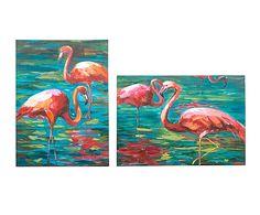 Set de 2 lienzos sobre bastidor Flamencos - 50x70 cm
