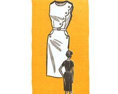 1950s Buttoned Scallop Sheath Dress Pattern by VtgSewingPatterns, $28.00