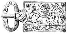Plaque-boucle de Landelinus découverte à Ladoix-Serrigny (Côte-d'Or). Christ cavalier de l'Apocalypse (dessin C. d'Arbaumont, ministère de la Culture ; d'après Gaillard de Sémainville, 2004).