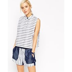 ASOS WHITE Crayon Stripe Sleeveless Shirt (140 BAM) ❤ liked on Polyvore featuring tops, bluewhite, shirts & tops, cotton shirts, sleeveless tops, sleeveless crop top and striped top