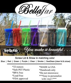 Personalized Mason Jar, Bella Jar Plastic Mug with lid and straw, 22 oz Single wall, monogram, name, vinyl decals, custom design, multicolor