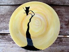 Owl ceramic pottery dinner plate made to order tableware kiln fired your desired color