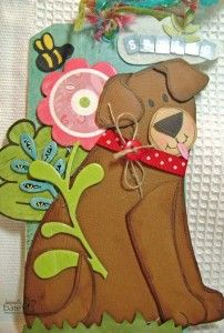 Doggie paper piece using Basic Grey, Unity Stamp, May Arts ribbon, Basically Bare