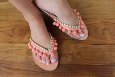 Leather flip flops. Pom pom coral sandals. by lizaslittlethings