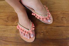 Leather flip flops. Pom pom coral sandals. by lizaslittlethings