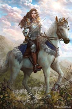 f Paladin Plate Armor Sword Horseback Farmland hills Megallah by Hoàng Lập (Solan) armoredwomen Fantasy Warrior, Fantasy Girl, Fantasy Art Women, Warrior Girl, Warrior Princess, Warrior Women, Knight On Horse, Knight Art, Female Armor