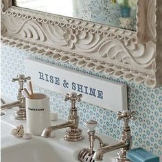 """Small bathroom #11: grumpy morning motivator! """"Its Charlies time"""" is what my grandpa use to say to wake us up!"""
