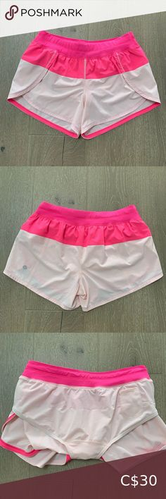 Lululemon pink running shorts 🏃♀️ Lululemon running shorts - so cute with hot pink and light pink colour 🌺🌸.  These shorts are Lin perfect condition and ready for your next run!  They have a drawstring waist & small pocket inside. lululemon athletica Shorts Athletic Shorts Lululemon Running, Lululemon Speed Shorts, Running Shorts, Light Pink Color, Pink Adidas, Long Shorts, Wrap Sweater, Red Sweaters, Athletic Shorts