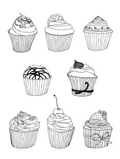Free coloring page coloring-free-cupcakes. Apetizing Cupcakes to print & color for free